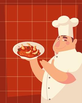 Professionelle restaurantvektorillustration des küchenchefs, der lebensmittelarbeiter dient