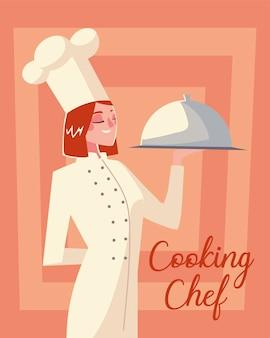 Professionelle restaurantvektorillustration des weiblichen küchenchef-catering-dienstarbeiters