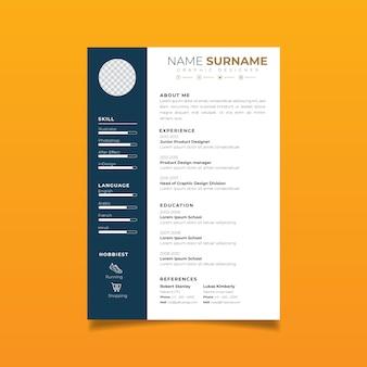 Professionelle resume-design-vorlage mit minimalistischem stil