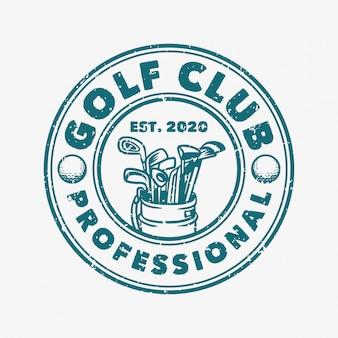 Professionelle retro-logo-vorlage des golfclubprofis mit golftaschenillustration