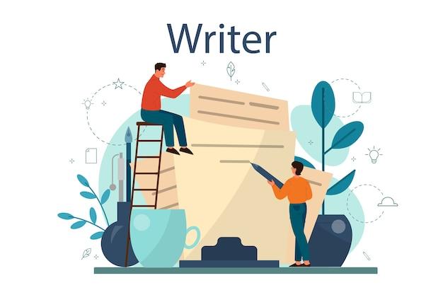 Professionelle schriftsteller- oder journalistenkonzeptillustration