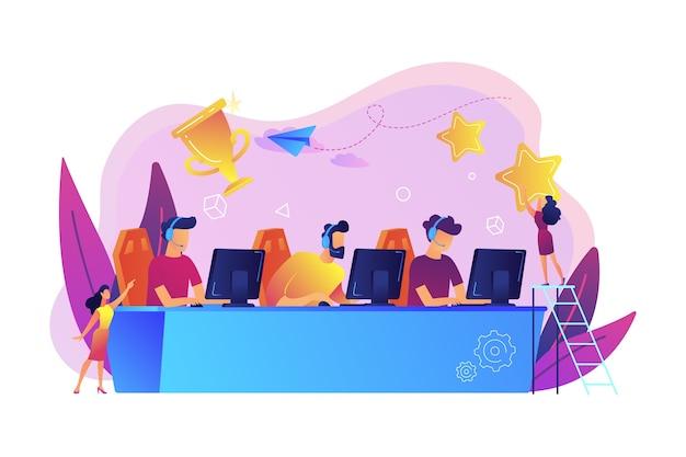 Professionelle spieler am tisch, die an e-sport-wettbewerben und trophäen teilnehmen. e-sport-turnier, offizielles spielereignis, e-sport-meisterschaftskonzept.