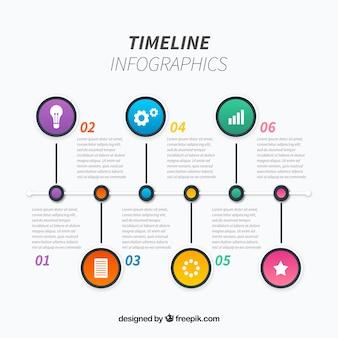 Professionelle timeline mit handgezeichneten stil