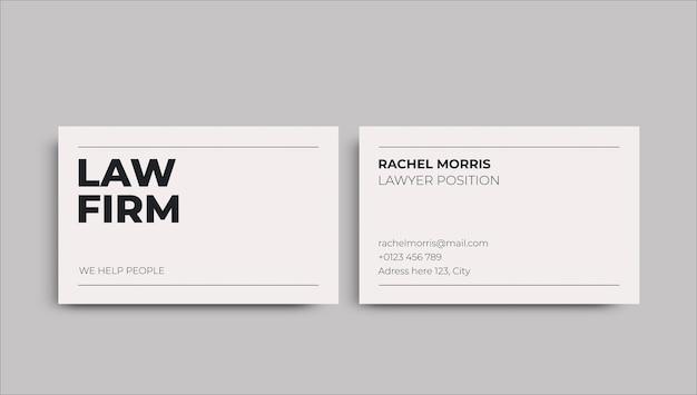 Professionelle visitenkarte des minimalistischen rechts