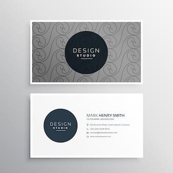 Professionelle visitenkarte design in grauer farbe mit muster form