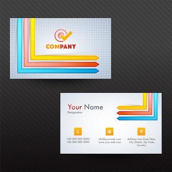 Professionelle visitenkarte oder visitenkarte mit pfeilen.