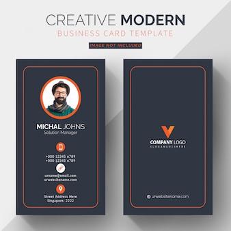 Professionelle visitenkartenvorlage, vertikale orange und schwarze visitenkarte