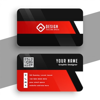 Professionelle vorlage der modernen roten und schwarzen visitenkarte