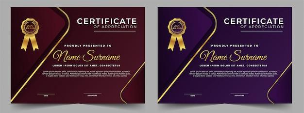 Professionelle vorlage für das zertifikatdesign