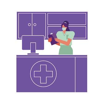 Professionelle weibliche chirurgin, die medizinische maske trägt, die in desktop-illustration arbeitet