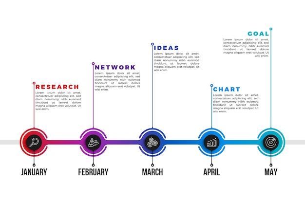 Professionelle zeitleiste mit farbverlauf infografik