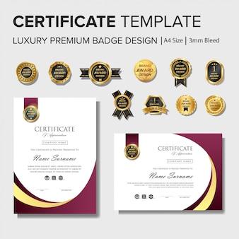 Professionelle zertifikat-entwurfsvorlage mit abzeichen