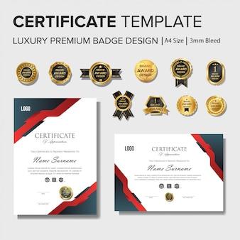 Professionelle zertifikat-entwurfsvorlage mit abzeichensatz