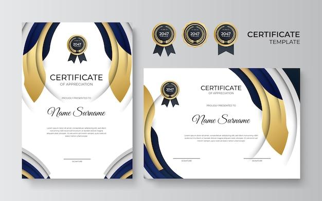 Professionelle zertifikatvorlage aus schwarzem gold im premium-stil. anerkennungsurkunde vorlage mit goldenem dekorationselement. abschluss des designdiploms, auszeichnung. vektor-illustration