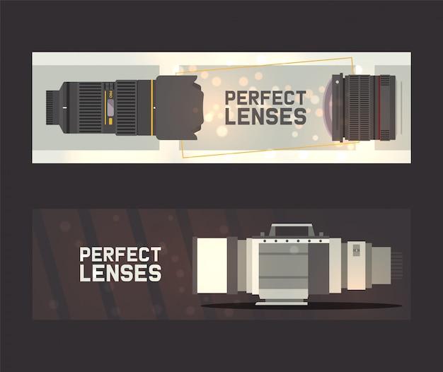Professionelle zoom-fotoobjektive und zubehör für kamera-banner. fotograf zubehör und ausrüstung.