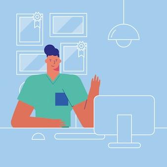Professioneller arzt, der auf dem desktop arbeitet