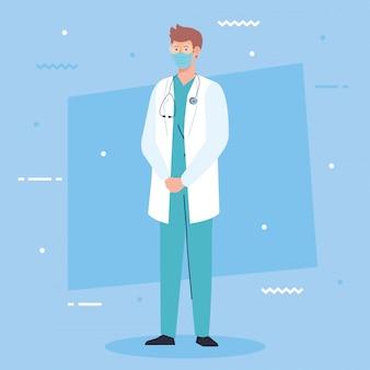 Professioneller arzt, der medizinische maske trägt, unter verwendung der schürze und des stethoskops, krankenhausangestellter, verhinderungs-coronavirus-covid-19-vektorillustrationsdesign