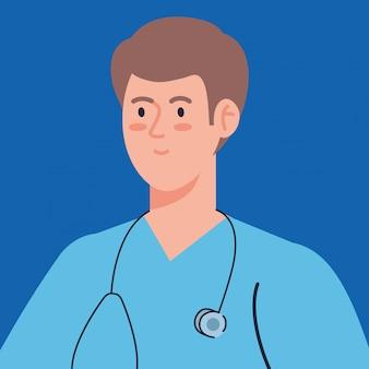 Professioneller arzt mit stethoskop und uniform, mannarzt, krankenhausarbeitervektorillustrationsentwurf