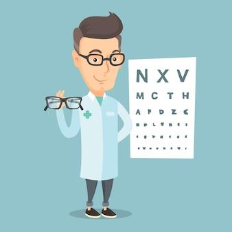 Professioneller augenarzt, der brillen hält.