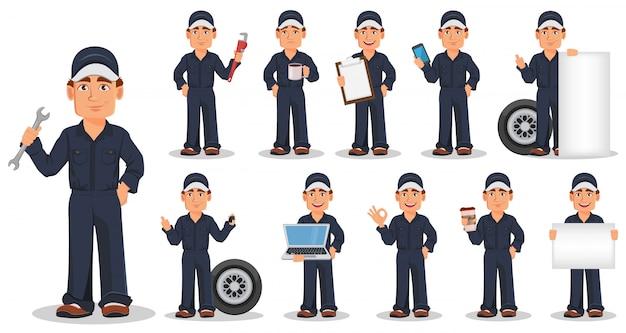 Professioneller automechaniker in uniform, set