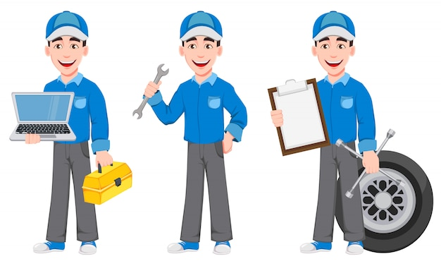 Professioneller automechaniker in uniform