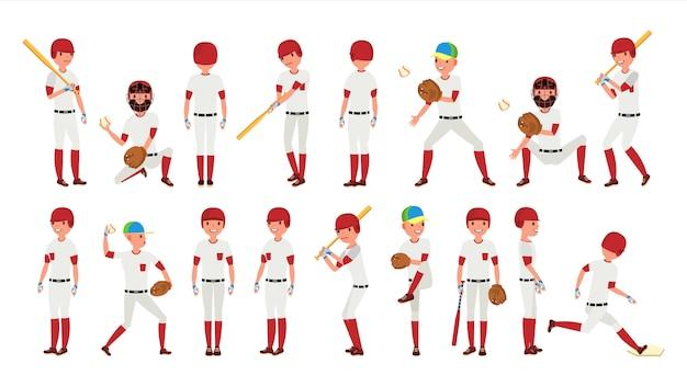 Professioneller baseball-spieler-vektor. mächtiger hitter. dynamische aktion auf dem stadion. isolierte zeichentrickfigur