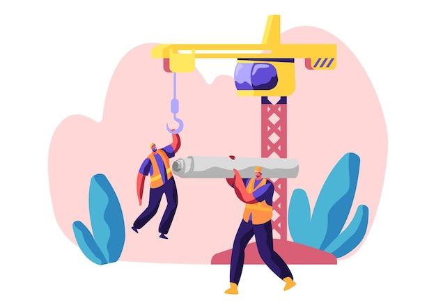 Professioneller baumeister in uniform im prozessbau. arbeiter in hardhat keep crane. service stadtgebäude. arbeiter tragen material für bauarbeiten. flache karikatur-vektor-illustration