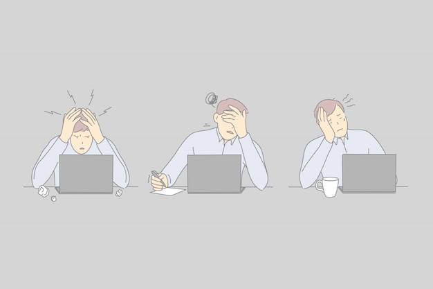 Professioneller burnout, erschöpfung am arbeitsplatz, stress arbeitnehmer konzept