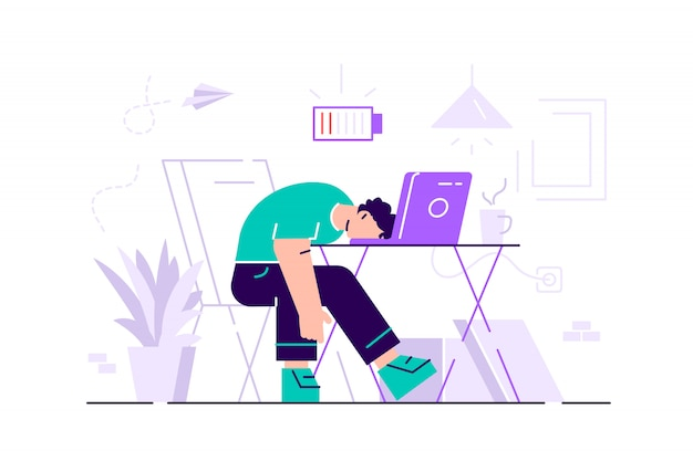 Professioneller burnout. langer tag. millennials bei der arbeit. flache illustration.