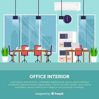 Professioneller Büroinnenraum mit flachem Design