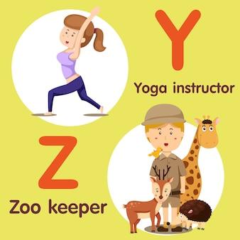 Professioneller charakter yogalehrer und tierpfleger