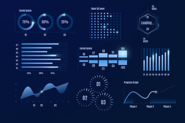 Professioneller dashboard-elementsatz