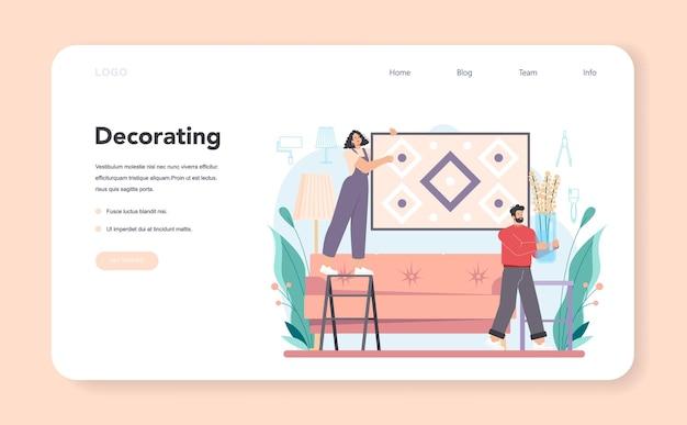 Professioneller dekorateur webbanner oder landing page. designer-planung