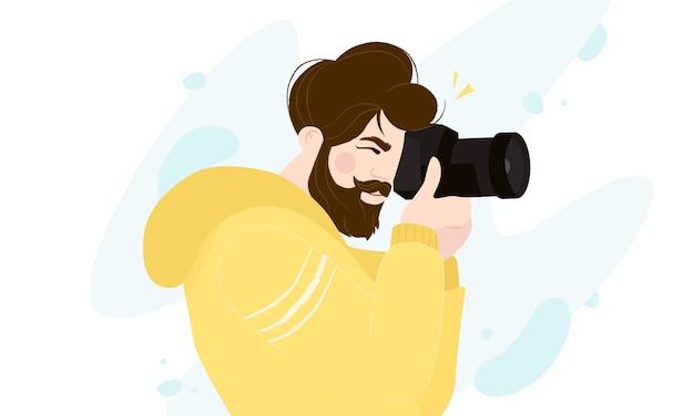 Professioneller fotograf mit kameraaufnahme foto isoliert o