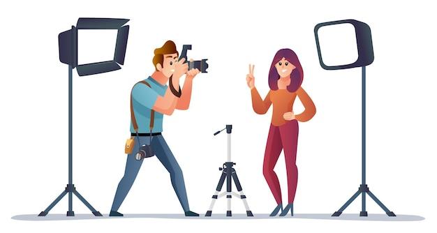 Professioneller fotograf und model mit karikaturillustration der fotoausrüstung