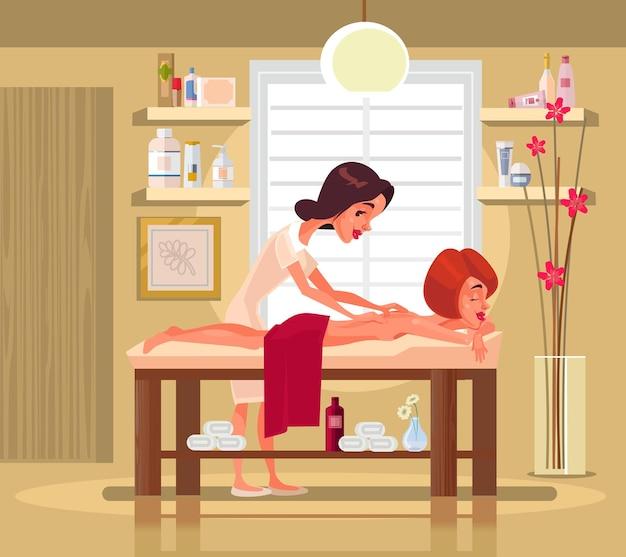 Professioneller fraucharakter des massagetherapeuten, der exotische massage zur glücklichen lächelnden frau tut. flache karikaturillustration