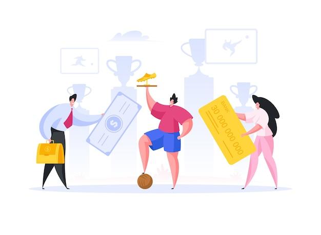 Professioneller fußballspieler mit goldener trophäe, die auf ball tritt, während männliche und weibliche manager geld in erfolgreiche sportkarriere investieren.