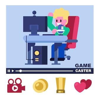 Professioneller game-caster, game-streamer, live-stream mit unterstützung des icon fan clubs