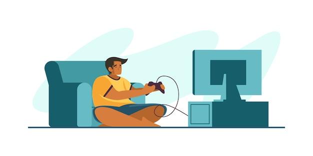 Professioneller gamer holding pad controller beim spielen eines videospiels auf dem fernsehbildschirm. e-sport-spieler, pro-gamer-konzept. kopf- oder fußzeile banner vorlage. skalierbare und bearbeitbare illustration.