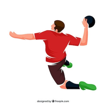 Professioneller handballspieler mit flachem design