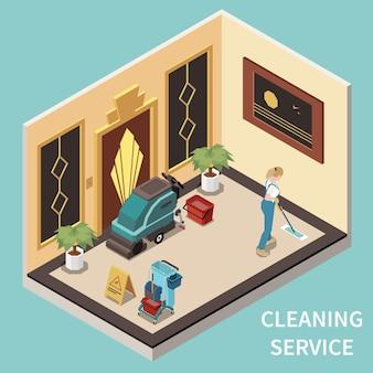 Professioneller hausmeisterdienstmitarbeiter in einheitlichem reinigungsboden im foyer des öffentlichen regierungsgebäudes isometrische zusammensetzung public
