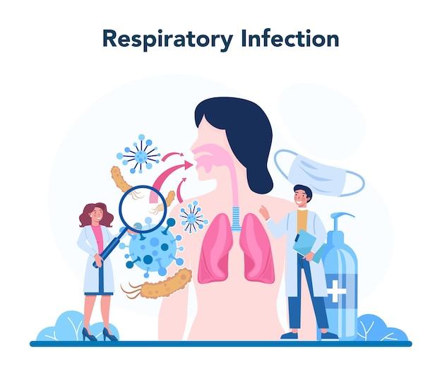 Professioneller infektionist. arzt für infektionskrankheiten, der durch vektoren übertragene krankheiten behandelt. notfallhilfe bei ausbruch von viren und atemwegsinfektionen.