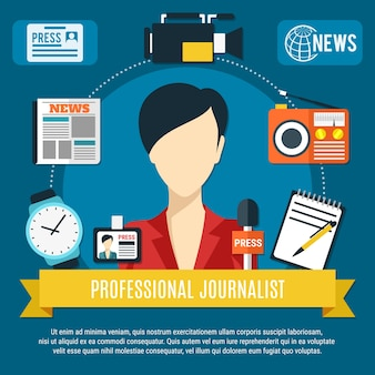 Professioneller journalistenhintergrund mit flachen symbolen der nachrichtensprecherincharakterpresse-mikrofon-radioempfänger