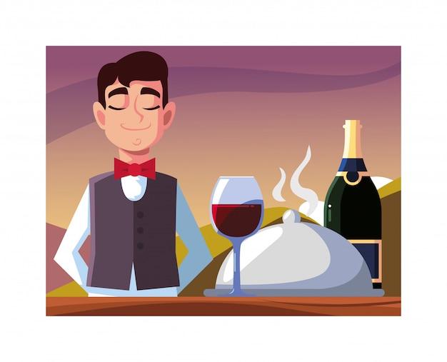 Professioneller kellner des mannes, der rotwein anbietet
