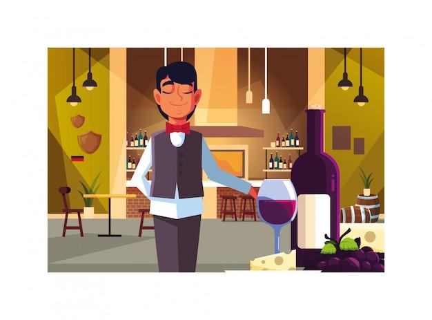 Professioneller kellner des mannes, der rotwein in der bar anbietet