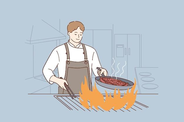Professioneller koch, der leckeres lebensmittelkonzept kocht Premium Vektoren