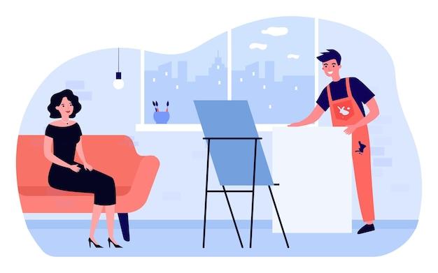 Professioneller künstler, der sich auf das malen des porträts der frau vorbereitet. mann, der leinwand hinter staffelei hält, modell auf sofa in der flachen vektorillustration der werkstatt. kunst-, berufskonzept für banner- oder website-design