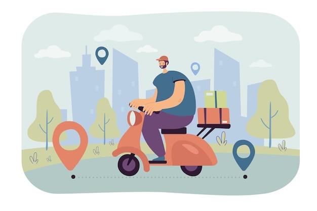 Professioneller kurier, der bestellung auf flacher abbildung des scooters liefert.