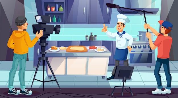 Professioneller meisterkoch in einheitlicher kochpizza in der restaurantküche.