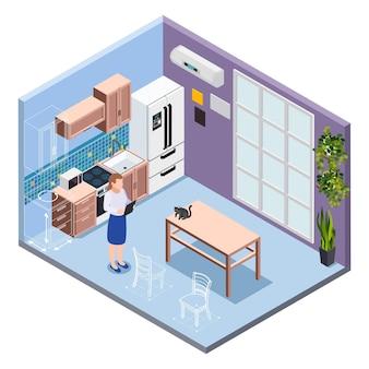 Professioneller mitarbeiter, der in einem modernen kücheninterieur mit möbeln und haushaltsisometrie arbeitet